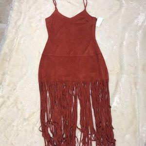 NWT Rust Fringe Dress Size M